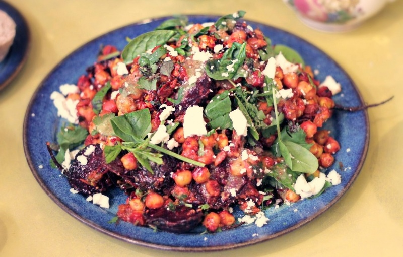 Fried baby beetroot and chickpea salad with a coriander and cumin dressing/  Recipe from Ali Benamar's FamilyFlavours
